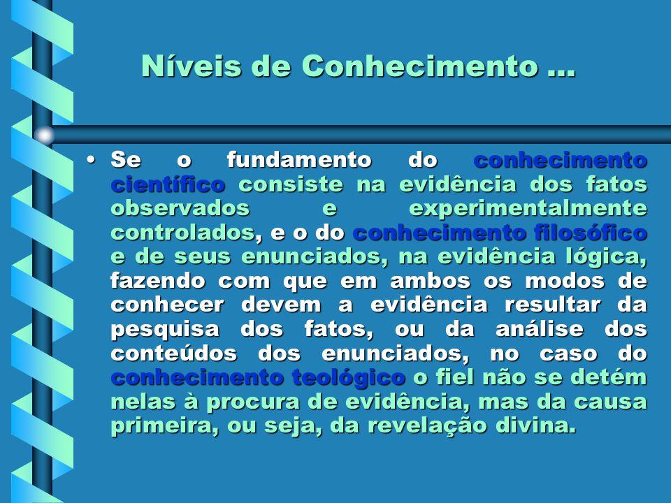 Níveis de Conhecimento... Se o fundamento do conhecimento científico consiste na evidência dos fatos observados e experimentalmente controlados, e o d