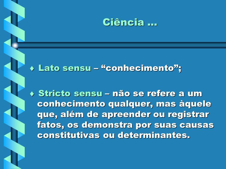 """Ciência...  Lato sensu – """"conhecimento"""";  Stricto sensu – não se refere a um conhecimento qualquer, mas àquele que, além de apreender ou registrar f"""