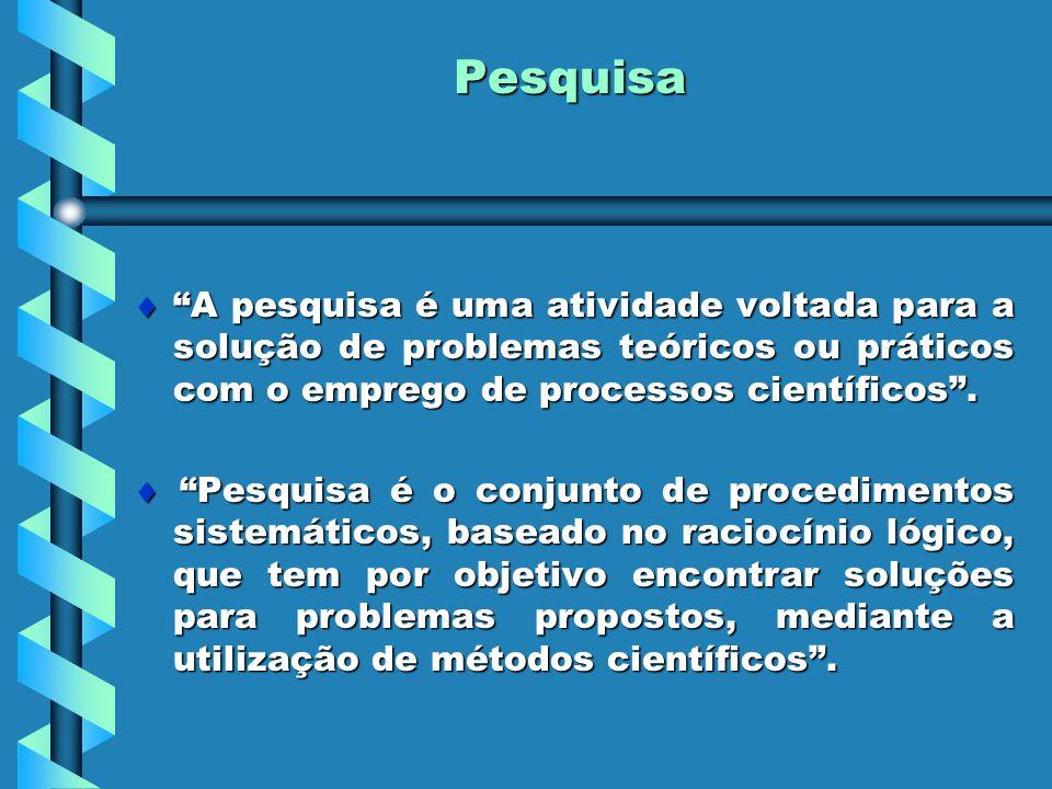 """Pesquisa  """"A pesquisa é uma atividade voltada para a solução de problemas teóricos ou práticos com o emprego de processos científicos"""".  """"Pesquisa é"""