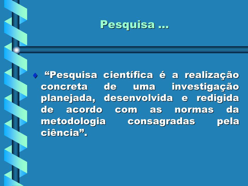 """Pesquisa...  """"Pesquisa científica é a realização concreta de uma investigação planejada, desenvolvida e redigida de acordo com as normas da metodolog"""