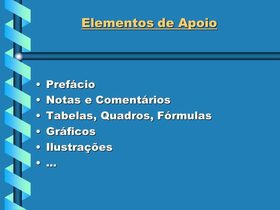Elementos de Apoio PrefácioPrefácio Notas e ComentáriosNotas e Comentários Tabelas, Quadros, FórmulasTabelas, Quadros, Fórmulas GráficosGráficos IlustraçõesIlustrações......