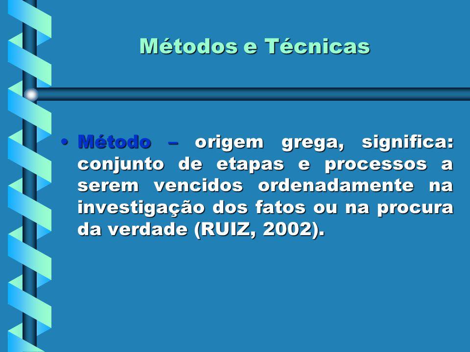 Métodos e Técnicas Método – origem grega, significa: conjunto de etapas e processos a serem vencidos ordenadamente na investigação dos fatos ou na pro