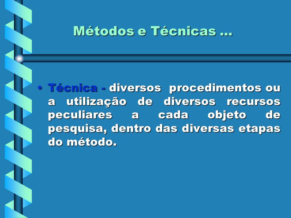 Métodos e Técnicas... Técnica - diversos procedimentos ou a utilização de diversos recursos peculiares a cada objeto de pesquisa, dentro das diversas