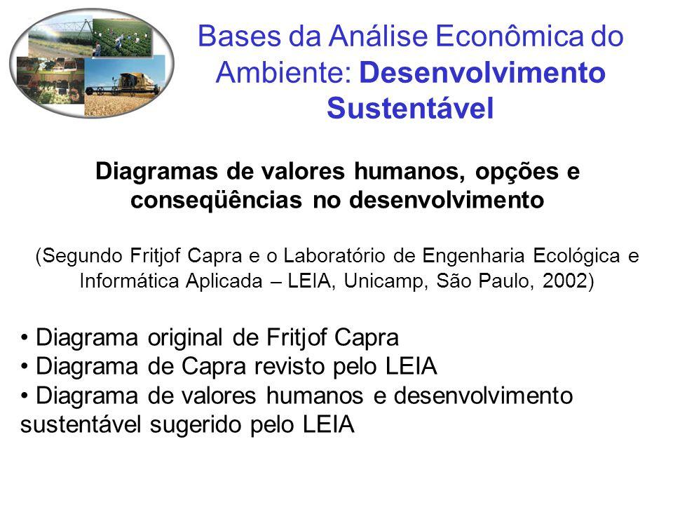 Diagramas de valores humanos, opções e conseqüências no desenvolvimento (Segundo Fritjof Capra e o Laboratório de Engenharia Ecológica e Informática A