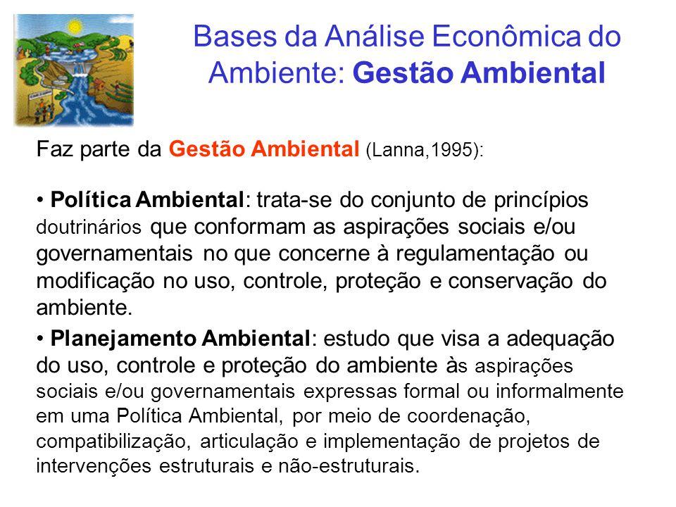 Bases da Análise Econômica do Ambiente: Gestão Ambiental Faz parte da Gestão Ambiental (Lanna,1995): Política Ambiental: trata-se do conjunto de princ