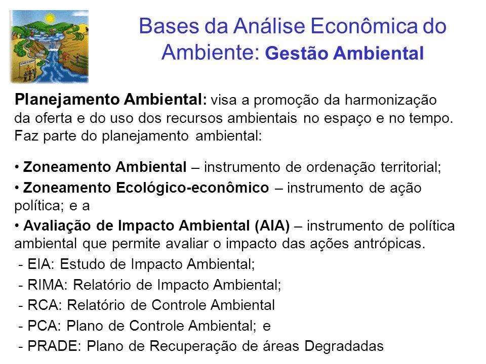 Bases da Análise Econômica do Ambiente: Gestão Ambiental Planejamento Ambiental : visa a promoção da harmonização da oferta e do uso dos recursos ambi