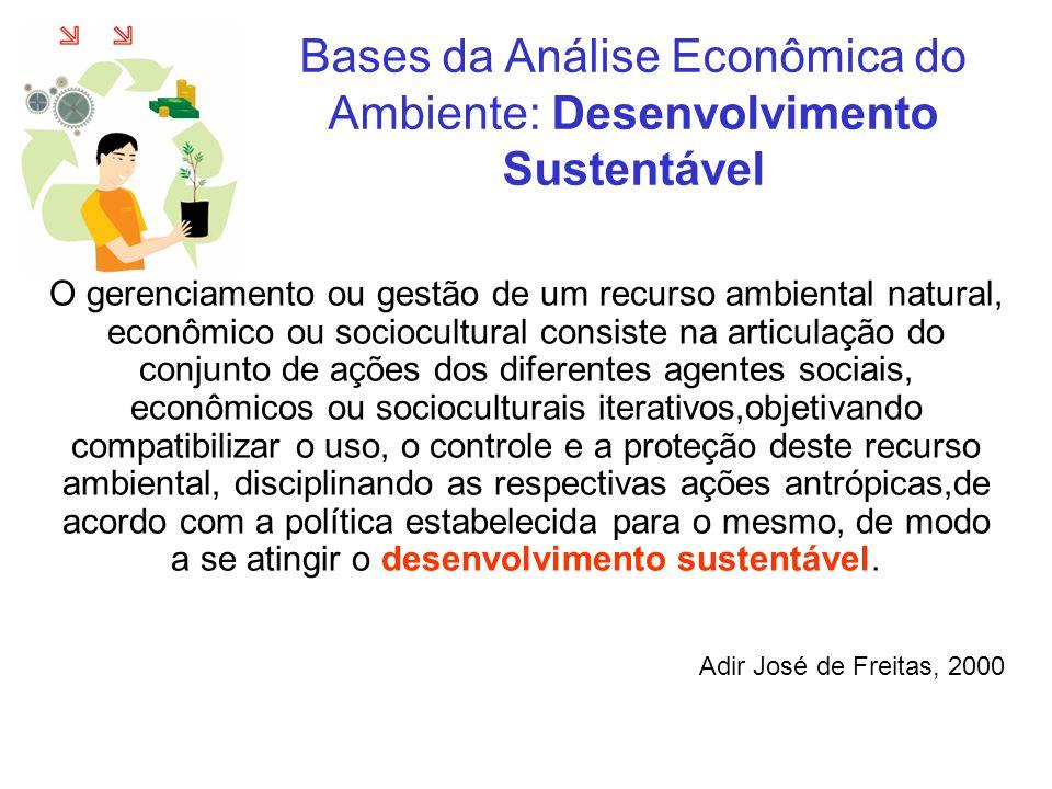 Bases da Análise Econômica do Ambiente: Gerenciamento de Bacia Hidrográfica - GBH Lanna, 2001 Três dimensões são identificadas no Gerenciamento Ambiental: 1.consumo de fatores de produção, ou ao capital tecnológico e humano, e diz respeito ao Gerenciamento do Uso dos Recursos Ambientais.