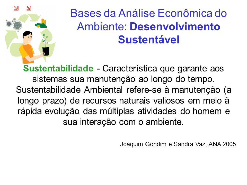 Sustentabilidade - Característica que garante aos sistemas sua manutenção ao longo do tempo. Sustentabilidade Ambiental refere-se à manutenção (a long