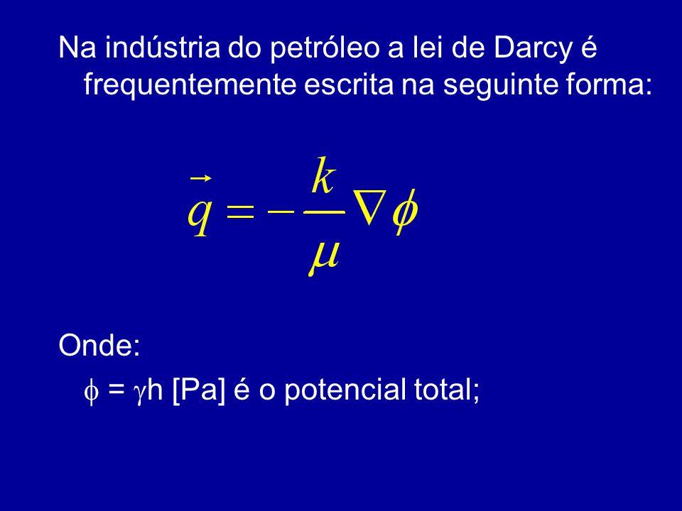 Na indústria do petróleo a lei de Darcy é frequentemente escrita na seguinte forma: Onde:  =  h [Pa] é o potencial total;