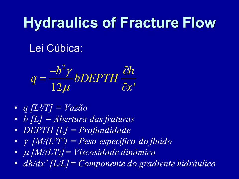 Hydraulics of Fracture Flow q [L³/T] = Vazão b [L] = Abertura das fraturas DEPTH [L] = Profundidade  [M/(L²T²) = Peso específico do fluido  [M/(LT)]