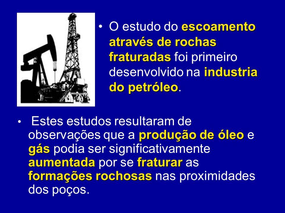 escoamento através de rochas fraturadas industria do petróleoO estudo do escoamento através de rochas fraturadas foi primeiro desenvolvido na industri