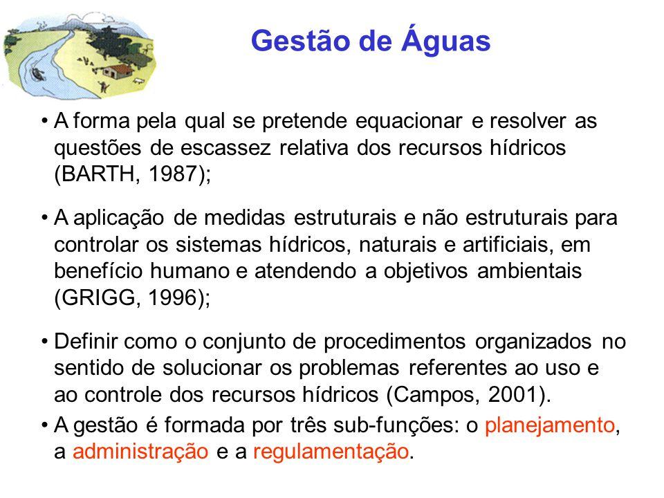Gestão de Águas A forma pela qual se pretende equacionar e resolver as questões de escassez relativa dos recursos hídricos (BARTH, 1987); A aplicação