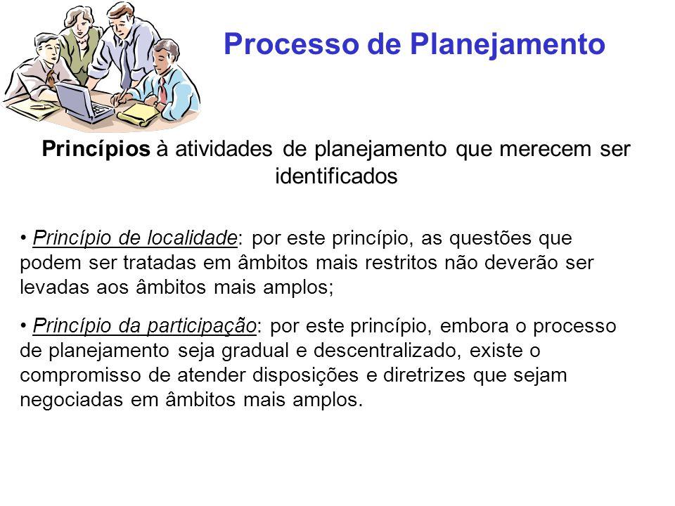 Processo de Planejamento Princípios à atividades de planejamento que merecem ser identificados Princípio de localidade: por este princípio, as questõe