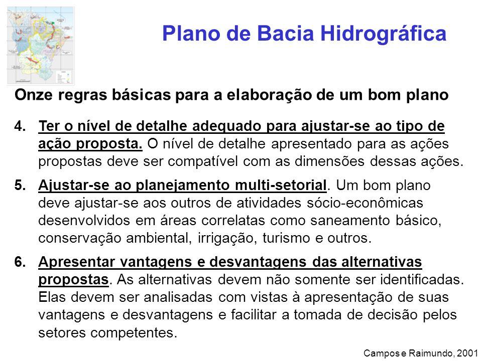 Plano de Bacia Hidrográfica Campos e Raimundo, 2001 Onze regras básicas para a elaboração de um bom plano 4.Ter o nível de detalhe adequado para ajust
