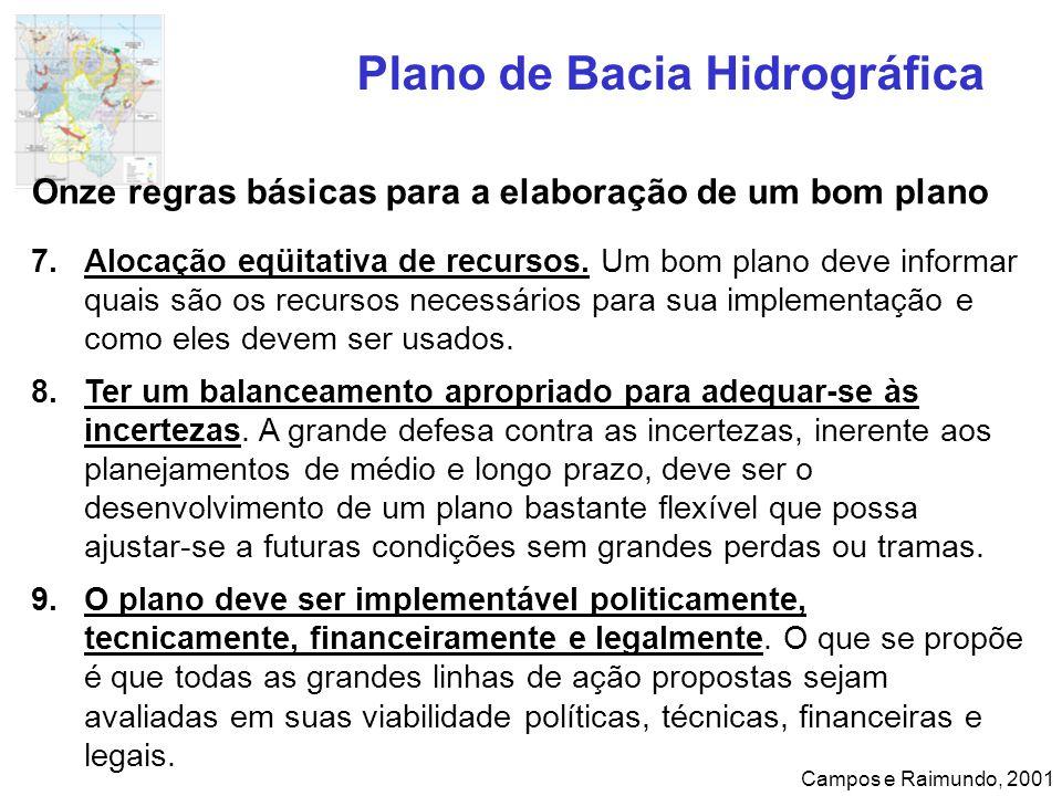 Plano de Bacia Hidrográfica Campos e Raimundo, 2001 Onze regras básicas para a elaboração de um bom plano 7.Alocação eqüitativa de recursos. Um bom pl