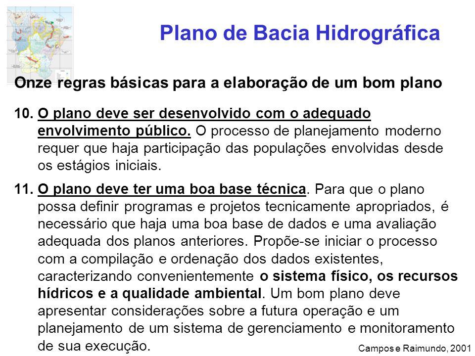Plano de Bacia Hidrográfica Campos e Raimundo, 2001 Onze regras básicas para a elaboração de um bom plano 10.O plano deve ser desenvolvido com o adequ