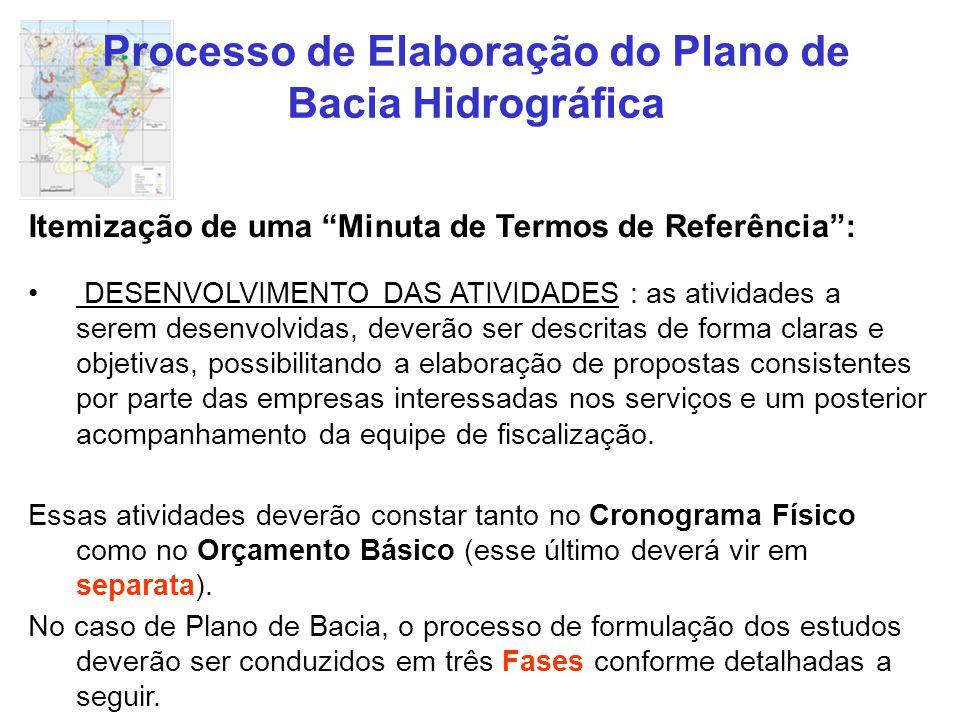 """Processo de Elaboração do Plano de Bacia Hidrográfica Itemização de uma """"Minuta de Termos de Referência"""": DESENVOLVIMENTO DAS ATIVIDADES : as atividad"""