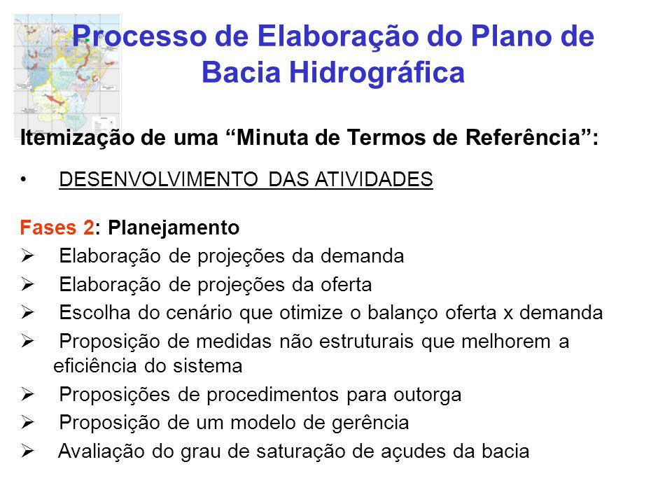 """Processo de Elaboração do Plano de Bacia Hidrográfica Itemização de uma """"Minuta de Termos de Referência"""": DESENVOLVIMENTO DAS ATIVIDADES Fases 2: Plan"""