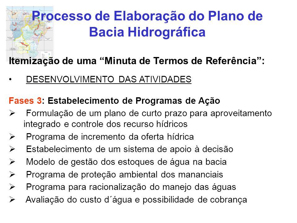 """Processo de Elaboração do Plano de Bacia Hidrográfica Itemização de uma """"Minuta de Termos de Referência"""": DESENVOLVIMENTO DAS ATIVIDADES Fases 3: Esta"""