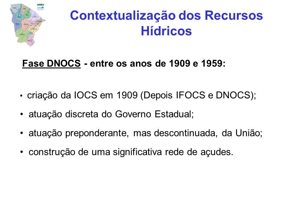 Fase DNOCS - entre os anos de 1909 e 1959: criação da IOCS em 1909 (Depois IFOCS e DNOCS); atuação discreta do Governo Estadual; atuação preponderante