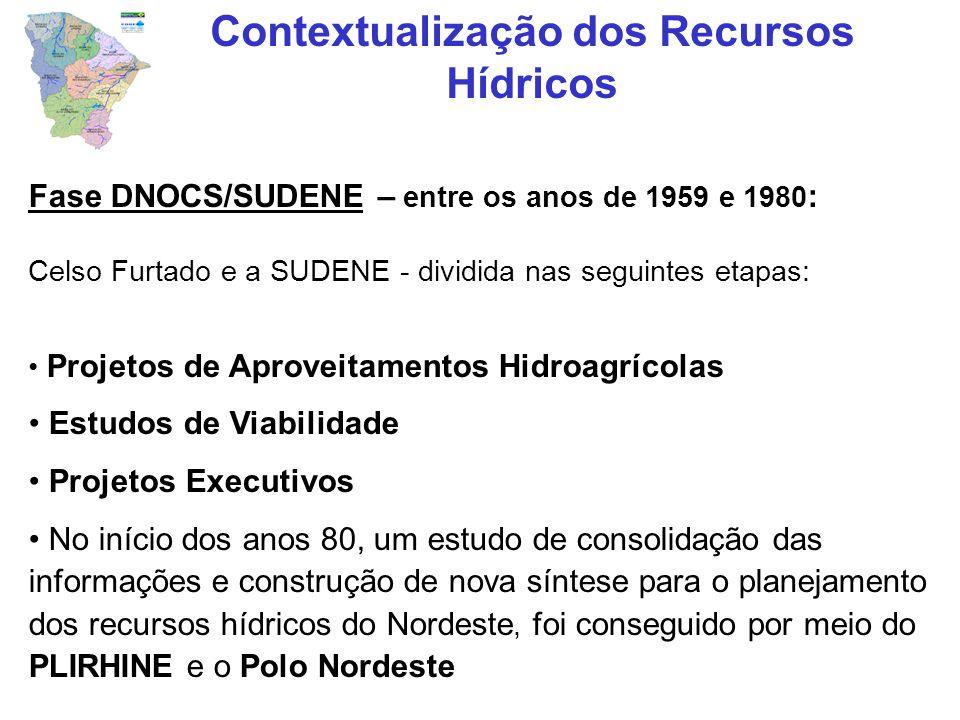 A partir de 1980 – fase atual vivenciada pelo Estado do Ceará: 1982: criação Conselho Estadual de Recursos Hídricos 1983: realização do Plano Zero de Recursos Hídricos 1986: criação da SRH e da SOHIDRA em 1987 1988 – 1991: elaboração do PLANERH 1992: promulgação da Lei Nº 11.996 1993: criação da COGERH 1993: assinatura do Acordo de Empréstimo financiado pelo Banco Mundial – PROURB Contextualização dos Recursos Hídricos