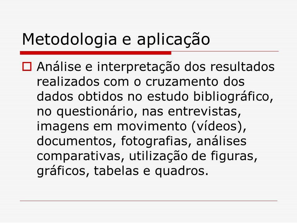 Metodologia e aplicação  Análise e interpretação dos resultados realizados com o cruzamento dos dados obtidos no estudo bibliográfico, no questionári