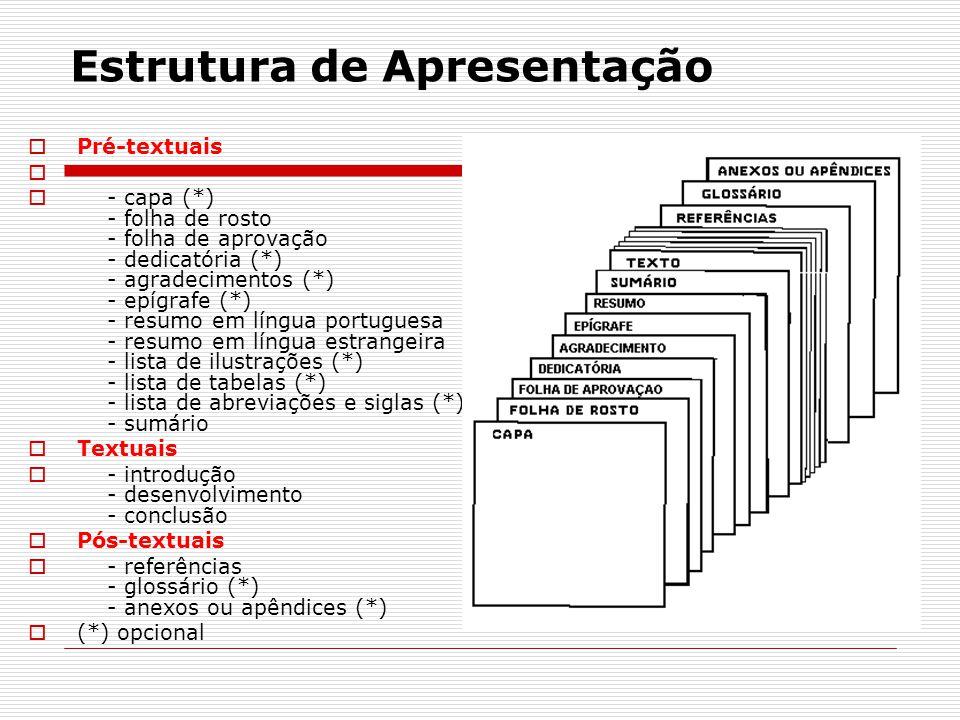 Estrutura de Apresentação  Pré-textuais   - capa (*) - folha de rosto - folha de aprovação - dedicatória (*) - agradecimentos (*) - epígrafe (*) -