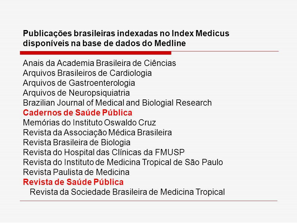 Publicações brasileiras indexadas no Index Medicus disponíveis na base de dados do Medline Anais da Academia Brasileira de Ciências Arquivos Brasileir