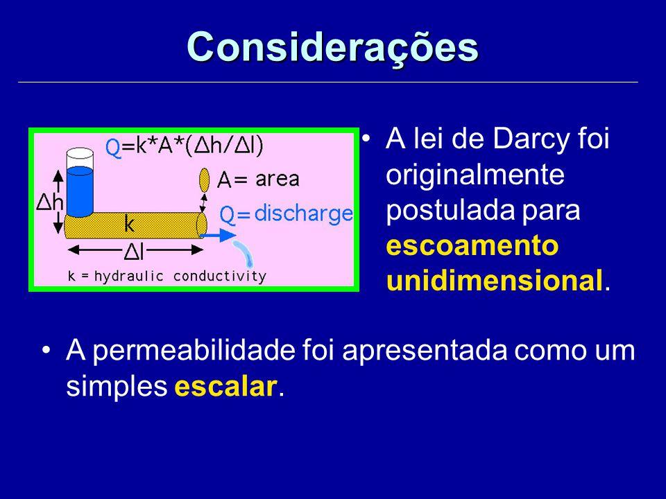 A lei de Darcy foi originalmente postulada para escoamento unidimensional. Considerações A permeabilidade foi apresentada como um simples escalar.
