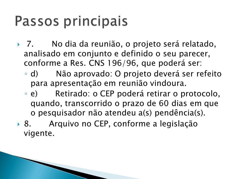  7. No dia da reunião, o projeto será relatado, analisado em conjunto e definido o seu parecer, conforme a Res. CNS 196/96, que poderá ser: ◦ d) Não