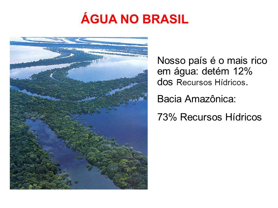 ÁGUA NO BRASIL Nosso país é o mais rico em água: detém 12% dos Recursos Hídricos. Bacia Amazônica: 73% Recursos Hídricos