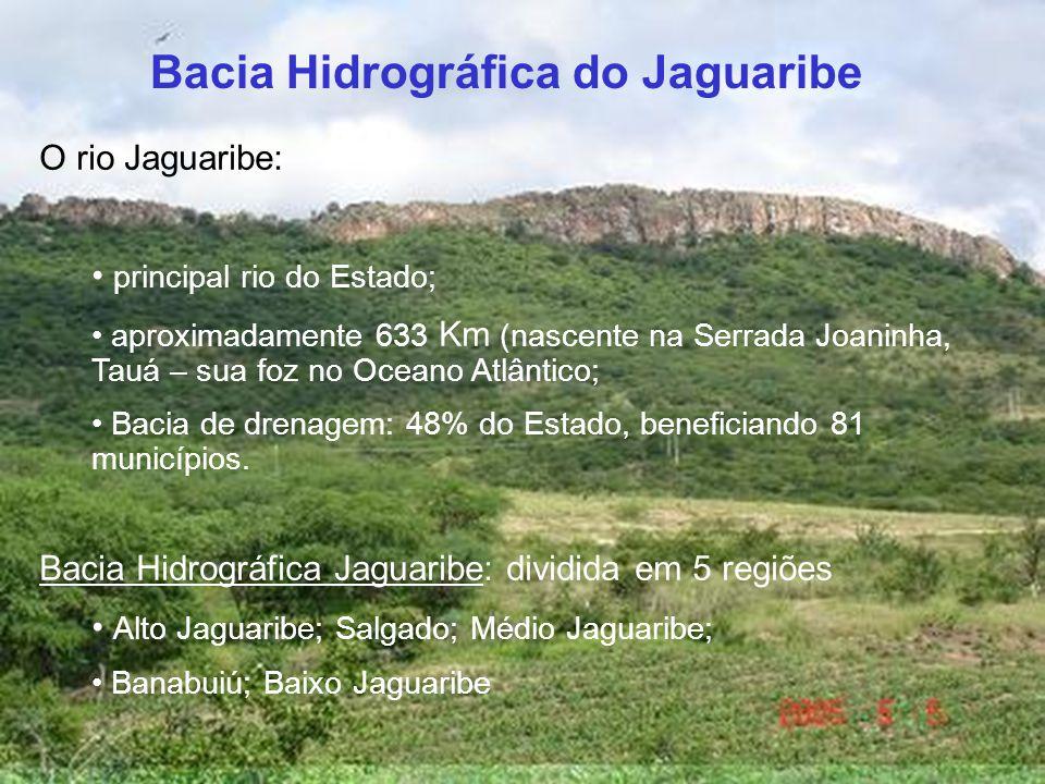 O rio Jaguaribe: principal rio do Estado; aproximadamente 633 Km (nascente na Serrada Joaninha, Tauá – sua foz no Oceano Atlântico; Bacia de drenagem: