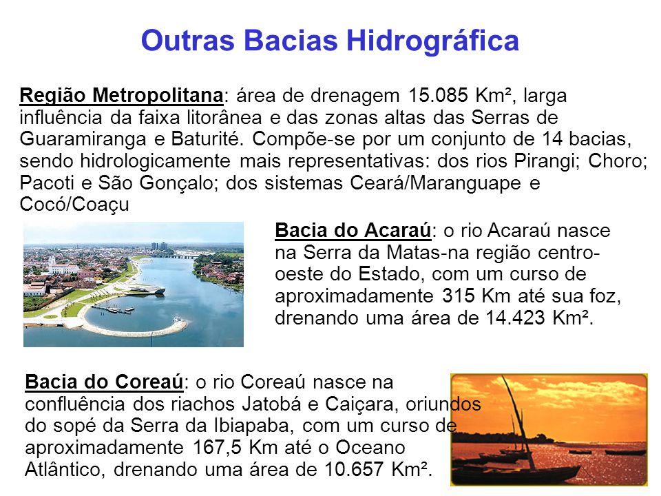 Outras Bacias Hidrográfica Região Metropolitana: área de drenagem 15.085 Km², larga influência da faixa litorânea e das zonas altas das Serras de Guar