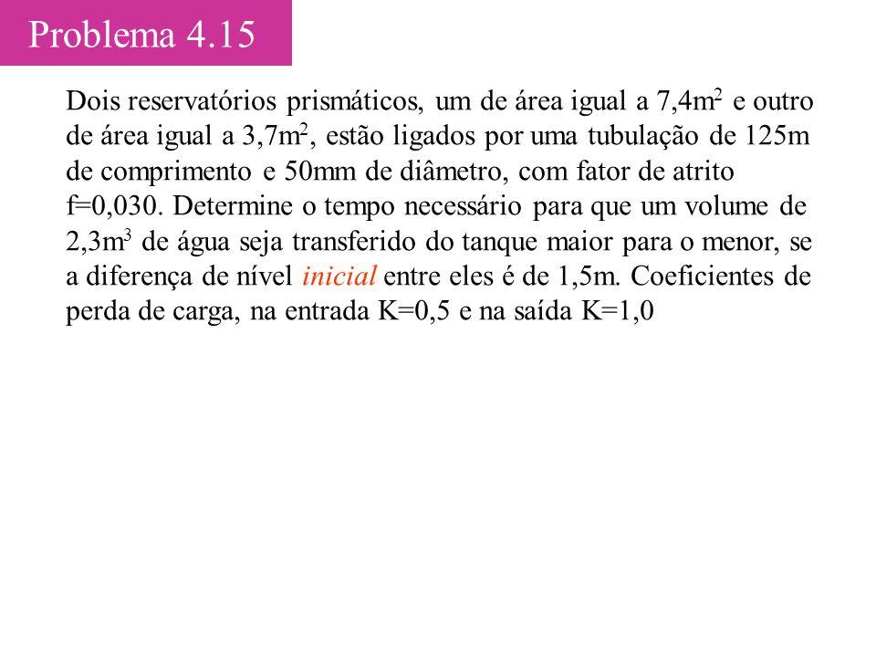 Problema 4.15 Dois reservatórios prismáticos, um de área igual a 7,4m 2 e outro de área igual a 3,7m 2, estão ligados por uma tubulação de 125m de com