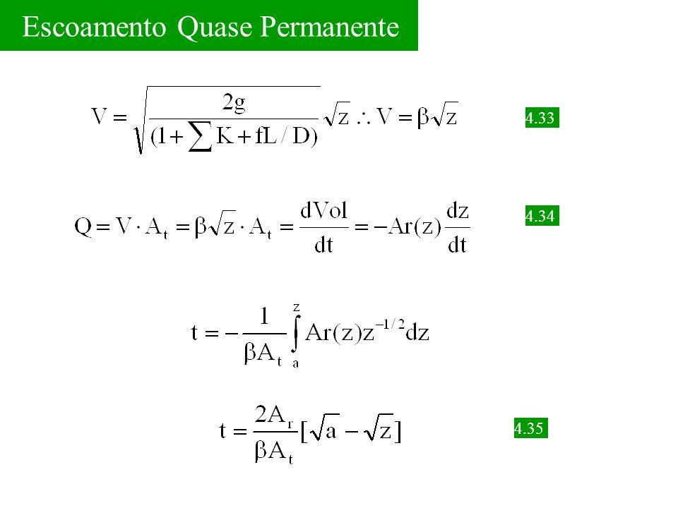 Escoamento Quase Permanente 4.33 4.34 4.35