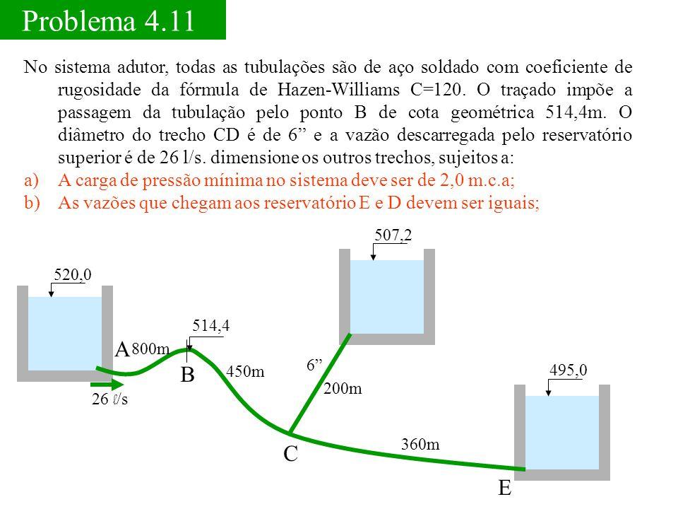 Problema 4.11 495,0 No sistema adutor, todas as tubulações são de aço soldado com coeficiente de rugosidade da fórmula de Hazen-Williams C=120. O traç