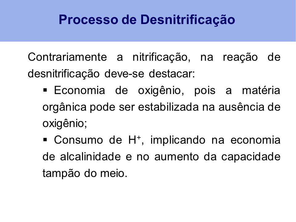 Processo de Desnitrificação Contrariamente a nitrificação, na reação de desnitrificação deve-se destacar:  Economia de oxigênio, pois a matéria orgân