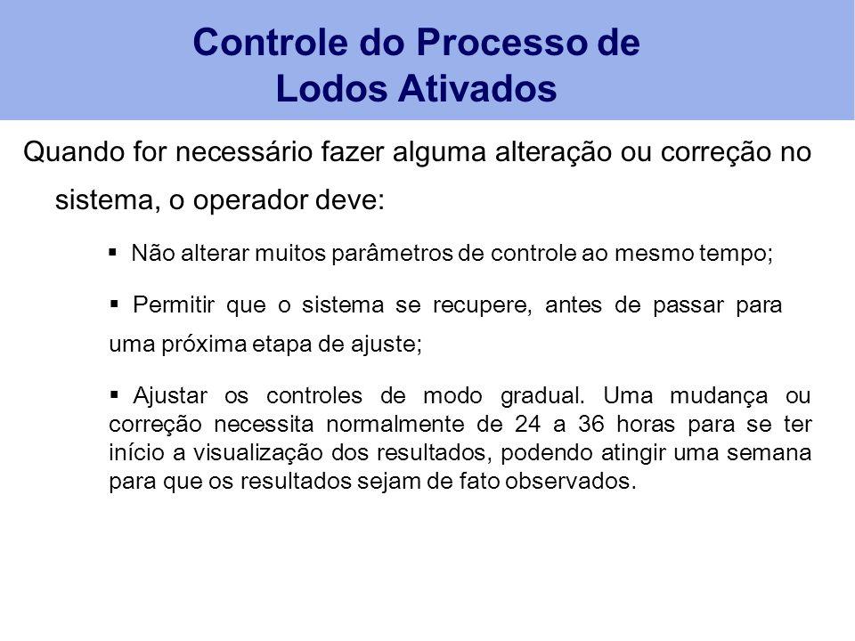 Quando for necessário fazer alguma alteração ou correção no sistema, o operador deve: Controle do Processo de Lodos Ativados  Não alterar muitos parâ