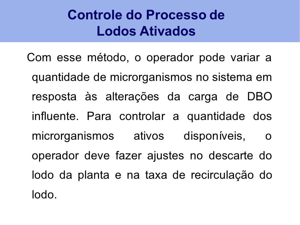 Com esse método, o operador pode variar a quantidade de microrganismos no sistema em resposta às alterações da carga de DBO influente. Para controlar