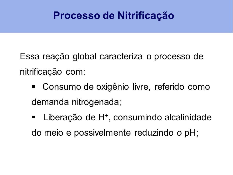 Processo de Nitrificação Essa reação global caracteriza o processo de nitrificação com:  Consumo de oxigênio livre, referido como demanda nitrogenada
