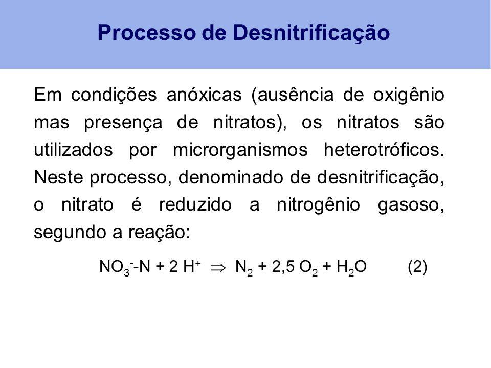 Processo de Desnitrificação NO 3 - -N + 2 H +  N 2 + 2,5 O 2 + H 2 O (2) Em condições anóxicas (ausência de oxigênio mas presença de nitratos), os ni
