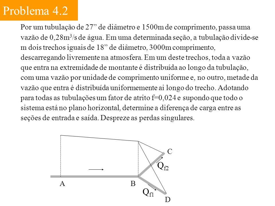 """Problema 4.2 Por um tubulação de 27"""" de diâmetro e 1500m de comprimento, passa uma vazão de 0,28m 3 /s de água. Em uma determinada seção, a tubulação"""