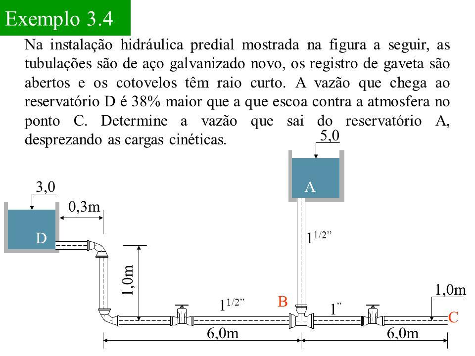 Exemplo 3.4 Na instalação hidráulica predial mostrada na figura a seguir, as tubulações são de aço galvanizado novo, os registro de gaveta são abertos e os cotovelos têm raio curto.