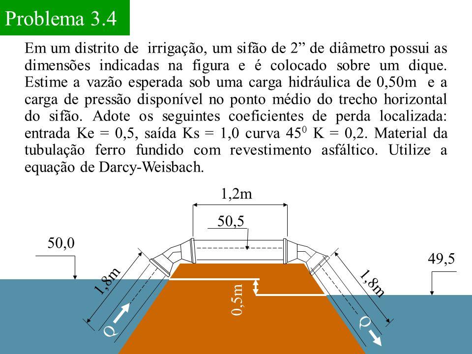 """Em um distrito de irrigação, um sifão de 2"""" de diâmetro possui as dimensões indicadas na figura e é colocado sobre um dique. Estime a vazão esperada s"""