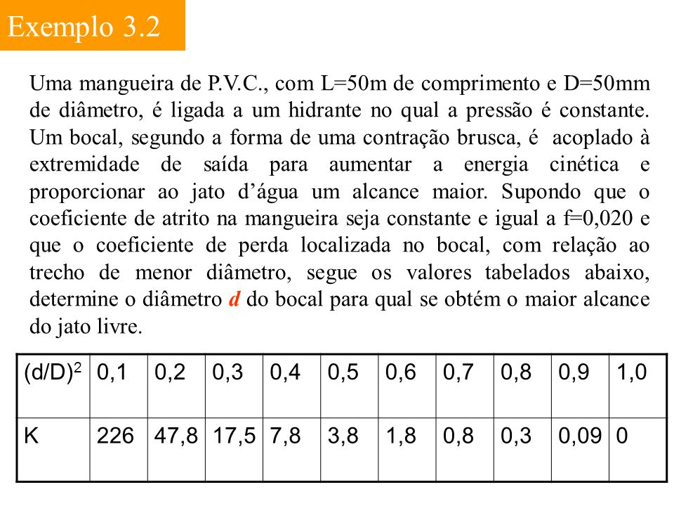 Exemplo 3.2 Uma mangueira de P.V.C., com L=50m de comprimento e D=50mm de diâmetro, é ligada a um hidrante no qual a pressão é constante. Um bocal, se