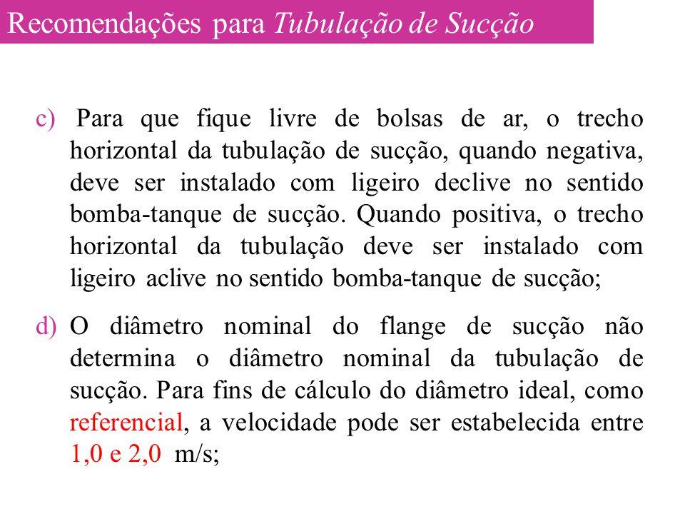 c) Para que fique livre de bolsas de ar, o trecho horizontal da tubulação de sucção, quando negativa, deve ser instalado com ligeiro declive no sentid