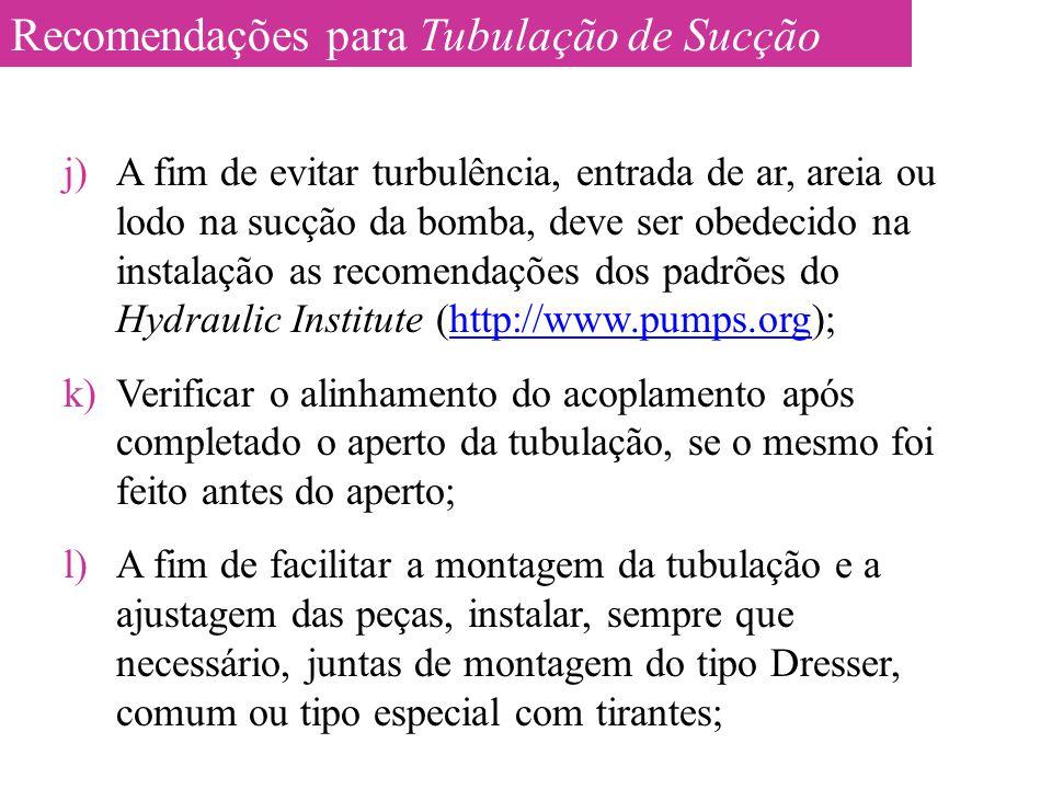 j)A fim de evitar turbulência, entrada de ar, areia ou lodo na sucção da bomba, deve ser obedecido na instalação as recomendações dos padrões do Hydra