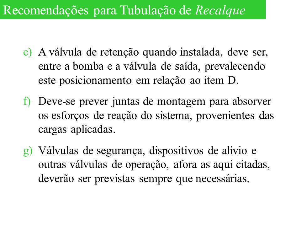 e)A válvula de retenção quando instalada, deve ser, entre a bomba e a válvula de saída, prevalecendo este posicionamento em relação ao item D. f)Deve-