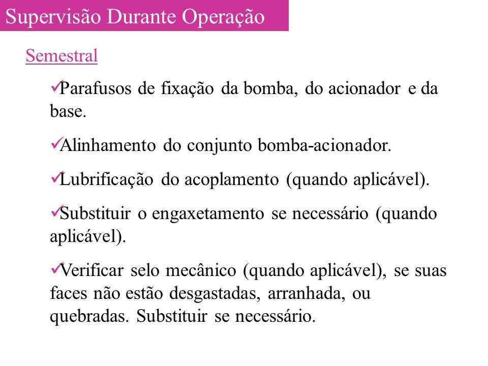 Supervisão Durante Operação Semestral Parafusos de fixação da bomba, do acionador e da base. Alinhamento do conjunto bomba-acionador. Lubrificação do