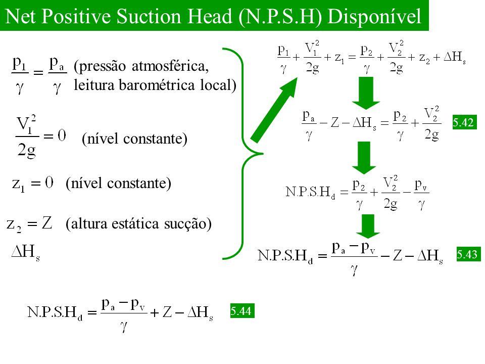 Net Positive Suction Head (N.P.S.H) Disponível (pressão atmosférica, leitura barométrica local) (nível constante) (altura estática sucção) 5.42 5.43 5